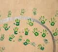 Handprints sur le mur Photos libres de droits