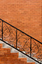 Handrail sloping concrete stair steps and steel Stock Photos