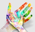 Hands abstract and colorful illustration of two Royalty Free Stock Image