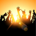 Hands in the air fans at a concert vector illustration Stock Images