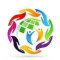 Hands around the world globe people  save care diversity logo icon clip art Royalty Free Stock Photo