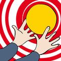 Hands and ball holding yellow disc against red white background Royalty Free Stock Photos