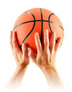 Hands basketball isolated white background Royalty Free Stock Photos