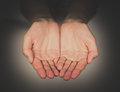 Hands begging two open of caucasian woman Royalty Free Stock Photo