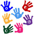 Hands of believers illustration with religious symbols Royalty Free Stock Image