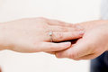 Hands with betrothal ring Royalty Free Stock Photo