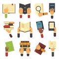 Hands with books. Holding book in hand, reading ebook and reader learning open textbook icon. Reading vector icons set Royalty Free Stock Photo