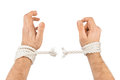 Hands and breaking rope Royalty Free Stock Photo