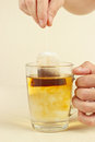 Hands brewed fresh tea in glass with hot water a Stock Images