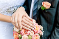 Hands of bride and groom Royalty Free Stock Photo