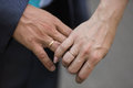 Hands of bride and groom with wedding rings Royalty Free Stock Photo