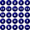 Hands button set vector symbols