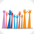 Hands celebrating ten up in the air for a celebration Stock Image