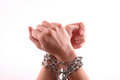 Hands with chain isolated on a white background Royalty Free Stock Photos