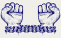Hands chained in a chain doodle style Royalty Free Stock Photo