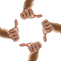 Hands in a circle with thumbs up sign Stock Photos
