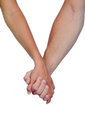 Hands clasped of two lovers isolated on white background Stock Photos