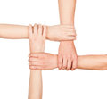 Hands are closed hands holding each other in unity isolated on white background Royalty Free Stock Photography