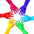 Hands colorful circle reaching inwards a top view of a circular group of glossy multicolored towards each other on an isolated Stock Images