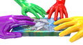 Hands colorful grabbing at australian dollars a group of glossy multicolored reaching and grapping a wad of ten dollar bank notes Stock Photo