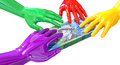 Hands colorful grabbing at australian dollars a group of glossy multicolored reaching and grapping a wad of ten dollar bank notes Stock Images