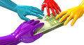 Hands colorful grabbing at euro notes a group of glossy multicolored reaching and grapping a wad of one hundred bank on an Royalty Free Stock Photography