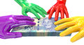 Hands colorful grabbing at south african rands a group of glossy multicolored reaching and grapping a wad of one hundred rand bank Royalty Free Stock Photo