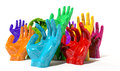 Hands colorful reaching skyward a group of glossy multicolored at various heights on an isolated white background Royalty Free Stock Photo