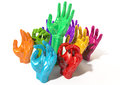 Hands colorful reaching skyward a group of glossy multicolored at various heights on an isolated white background Stock Photo