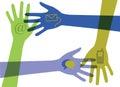 Ruky komunikácia ikony