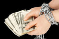 Hands with dollars in chain Royalty Free Stock Photo