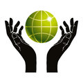 Hands and earth vector symbol. Royalty Free Stock Photo