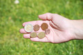 Hands with euro coins Stock Photos
