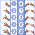 Hands figuring numbers one to ten hand signs counting up from in sign language Stock Photos