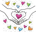 Hands forming heart shape around a colorful romantic heart - hand drawn illustration - Suitable for Valentine, Wedding,