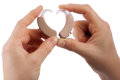 Hands forming a heart shape from hearing aids isolated