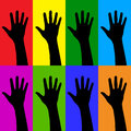 Hands of friendship black on colorful fields Stock Images