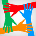 Hands of friendship colorful symbolizing help and support Royalty Free Stock Image