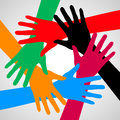 Hands of friendship in different colors help and support Stock Image