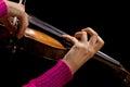 Hands girl playing the violin closeup Royalty Free Stock Image