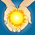 Hands giving and holding sun vector illustration of shining it concept image of solar energy investment bright successful future Royalty Free Stock Photography