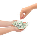 Hands giving money isolated on white background Royalty Free Stock Photos