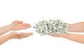 Hands giving money Royalty Free Stock Photo