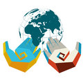 Hands with globe in colors of two countries solid fill illustration eps format Stock Photography