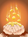 Hands with gold coins Stock Image