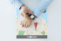 Hands with gps navigator map on smart watch Royalty Free Stock Photo