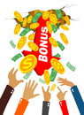 Hands grab money and coins Royalty Free Stock Photo