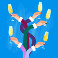 Hands Group Holding Glasses Champagne Wine Celebration Concept Royalty Free Stock Photo