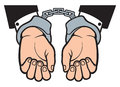 Hands in handcuffs man with sign Stock Images