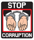 Hands in handcuffs stop corruption symbol man with Royalty Free Stock Photo